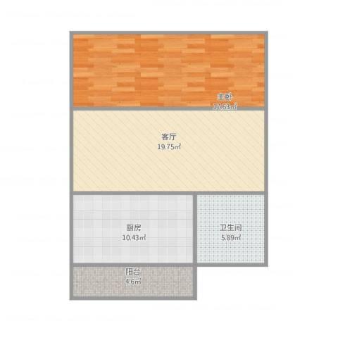 靖江西里1室1厅1卫1厨78.00㎡户型图
