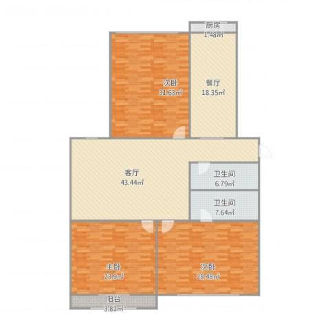 裕龙花园六区3室2厅2卫1厨219.00㎡户型图