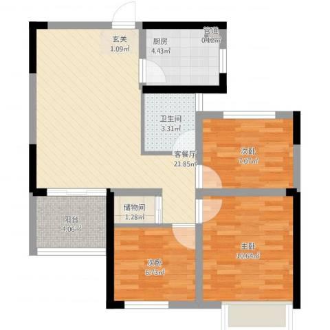 龙湖湘风原著3室1厅1卫1厨87.00㎡户型图