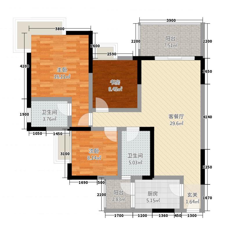 香榭里大道17.00㎡A2户型3室2厅2卫