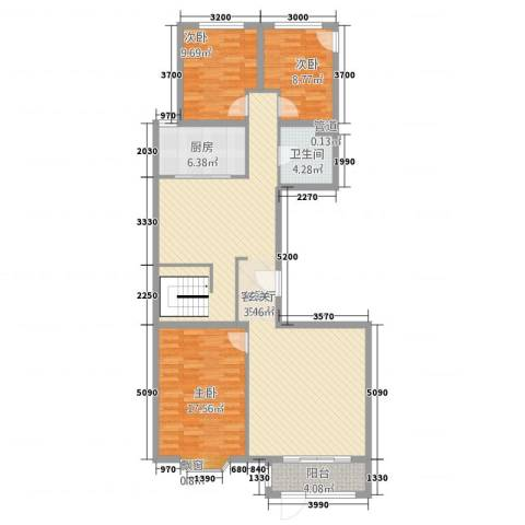 ��汇3室1厅1卫1厨146.00㎡户型图