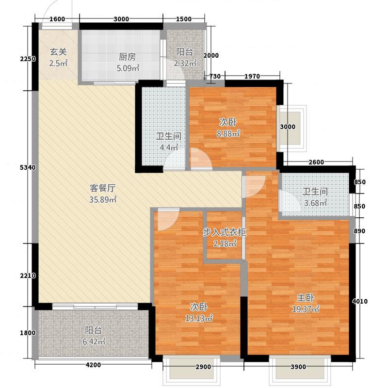 玉林奥园康城12125.32㎡12#楼C单元B113室户型3室2厅2卫1厨