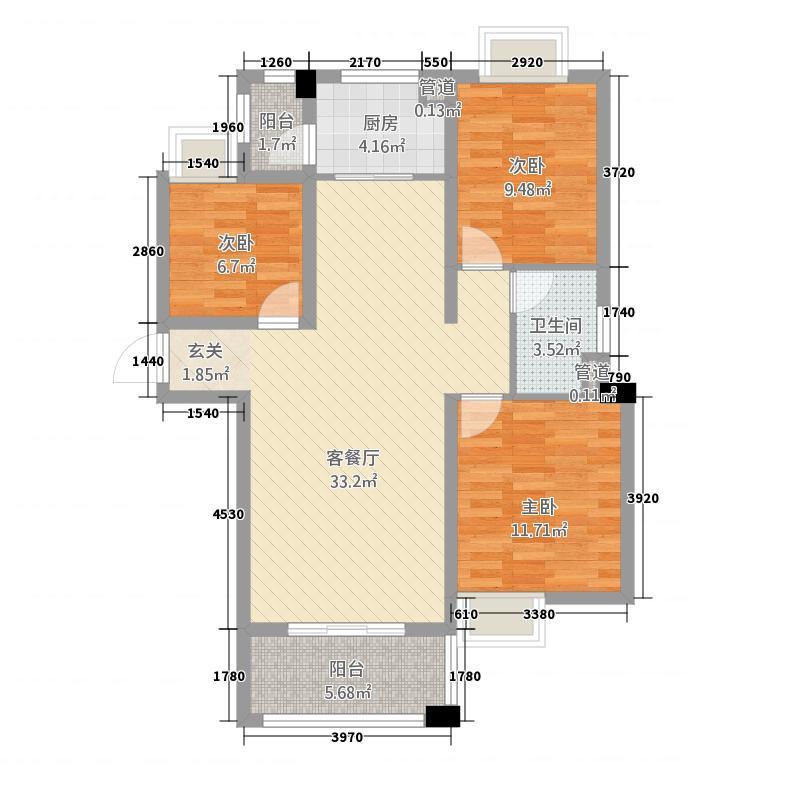 幸福世家1.88㎡A3户型3室2厅1卫1厨
