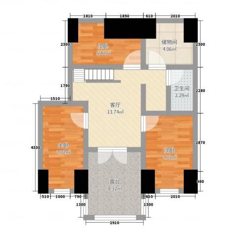 康安家园3室1厅1卫0厨64.00㎡户型图