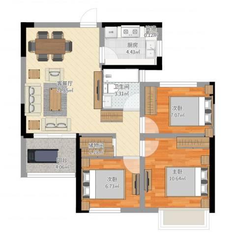 龙湖湘风原著3室1厅2卫1厨87.00㎡户型图