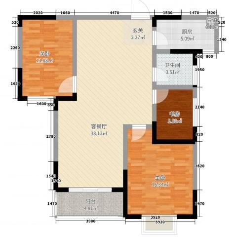 大观园家天下3室1厅1卫1厨120.00㎡户型图