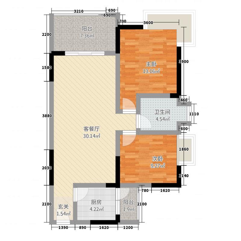 香榭里大道88.00㎡A1户型2室2厅1卫