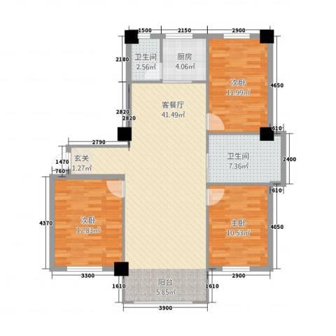 嘉利新城官邸3室1厅2卫1厨125.00㎡户型图
