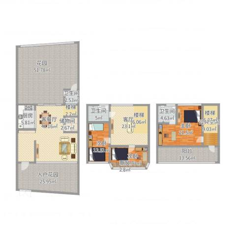 康湖山庄3室2厅3卫1厨324.00㎡户型图
