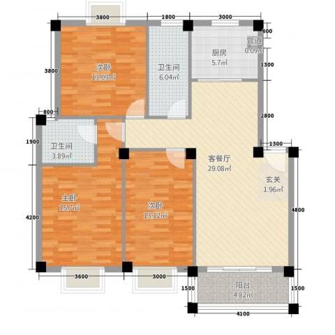 上寓3室1厅2卫1厨128.00㎡户型图