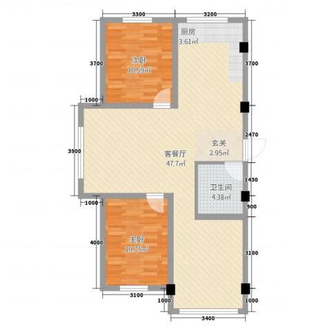 星源国际2室1厅1卫0厨103.00㎡户型图