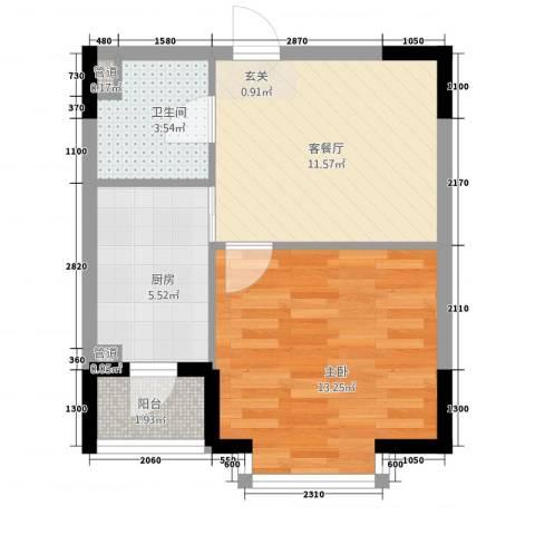 中央经典1室1厅1卫1厨52.00㎡户型图