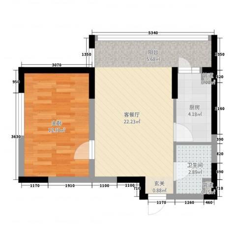 中央经典1室1厅1卫1厨60.00㎡户型图