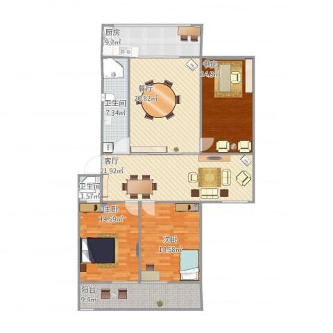 蓝箭小区3室2厅2卫1厨154.00㎡户型图