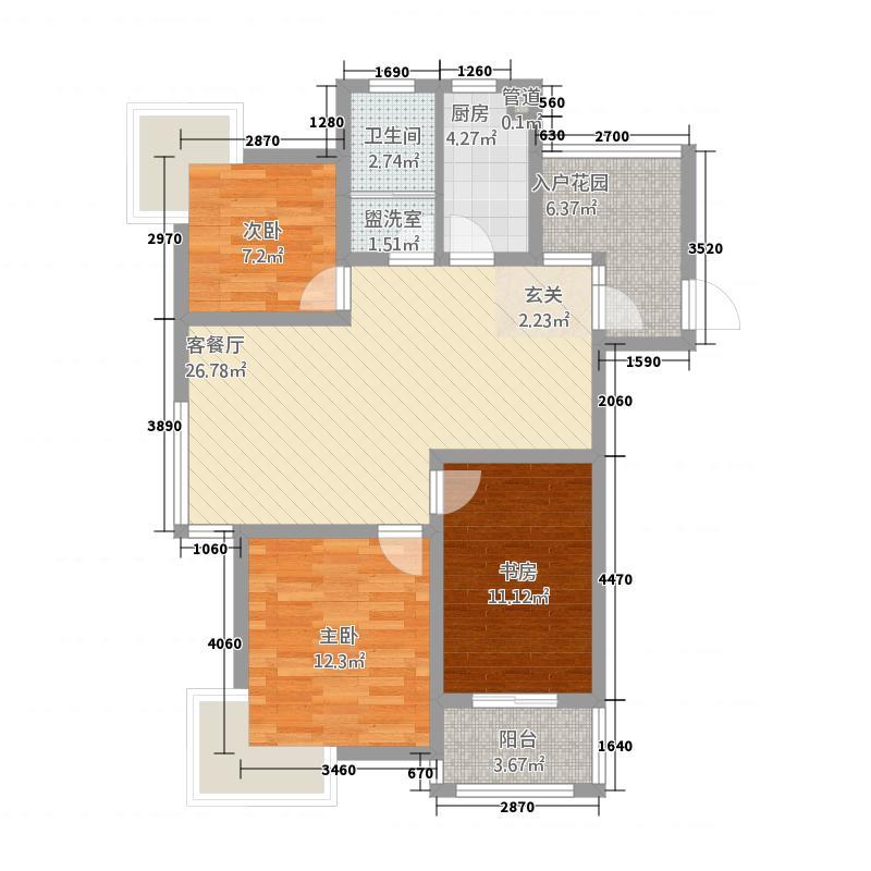 昌隆贵和苑11.10㎡F1户型3室2厅1卫