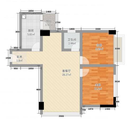 东方国际2室1厅1卫1厨86.00㎡户型图