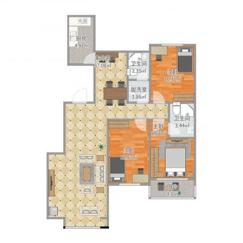 北斗星城东区・御府3室1厅2卫1厨112.00㎡户型图