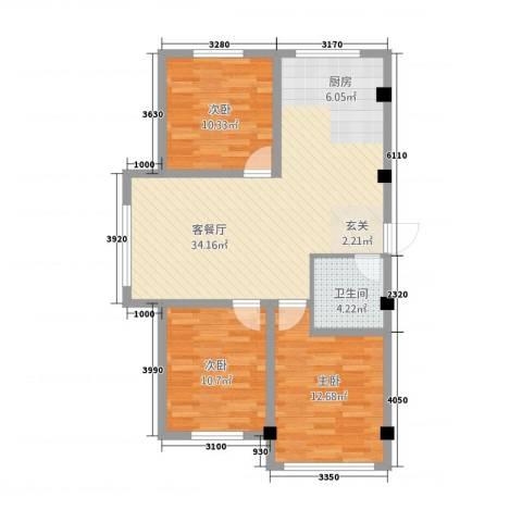 金博花园3室1厅1卫0厨102.00㎡户型图