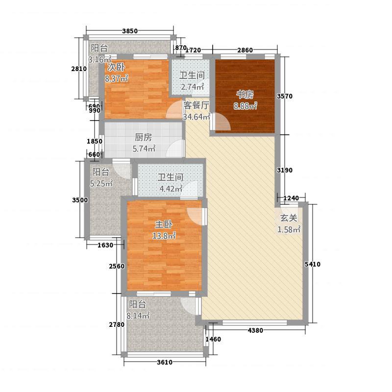实力上筑1.57㎡C3户型3室2厅2卫1厨