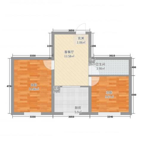 金华园2室1厅1卫1厨65.00㎡户型图