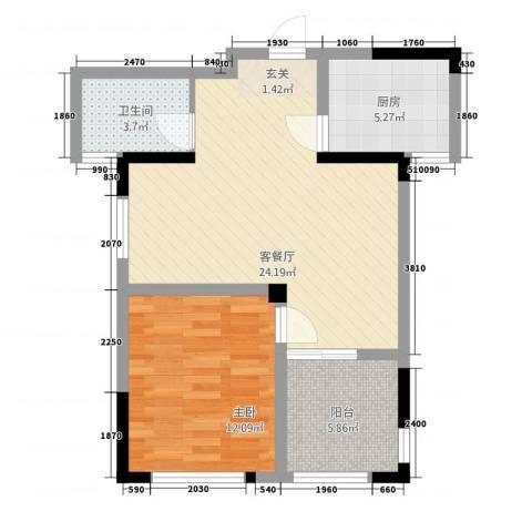 聚怡花园幸福小城1室1厅1卫1厨74.00㎡户型图