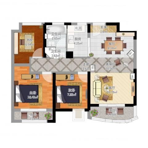浦东颐景园3室1厅1卫1厨102.00㎡户型图