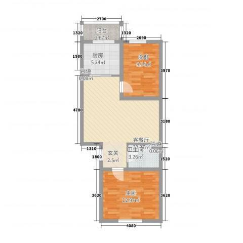 金华园2室1厅1卫1厨75.00㎡户型图