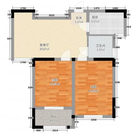 聚怡花园幸福小城2室1厅1卫1厨85.00㎡户型图