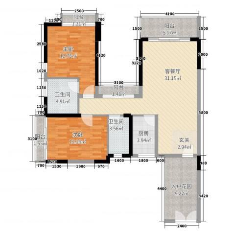 康乐园2室1厅2卫1厨87.14㎡户型图