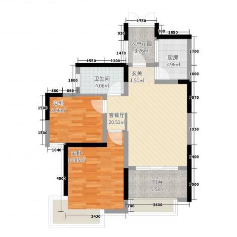 联泰香域滨江2室1厅1卫1厨58.68㎡户型图