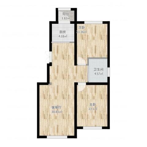 国盛南域枫景2室1厅1卫1厨94.00㎡户型图