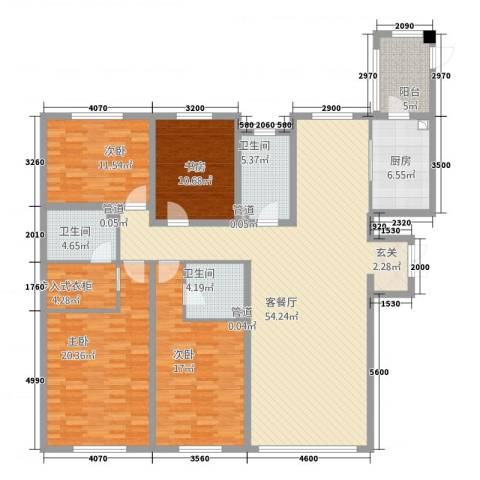 哈公馆4室1厅3卫1厨204.00㎡户型图