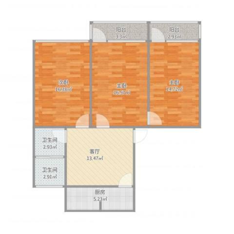 洪楼小区3室1厅2卫1厨106.00㎡户型图