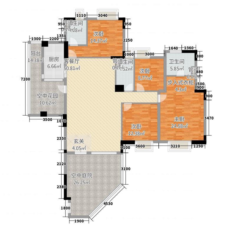海畔嘉苑14.83㎡7栋3-14层B户型4室2厅3卫1厨
