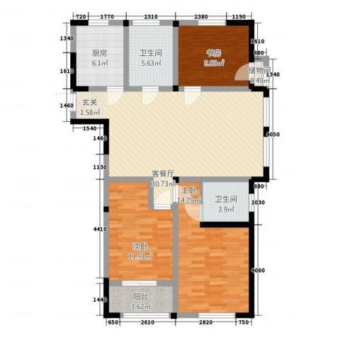 聚怡花园幸福小城3室1厅2卫1厨124.00㎡户型图