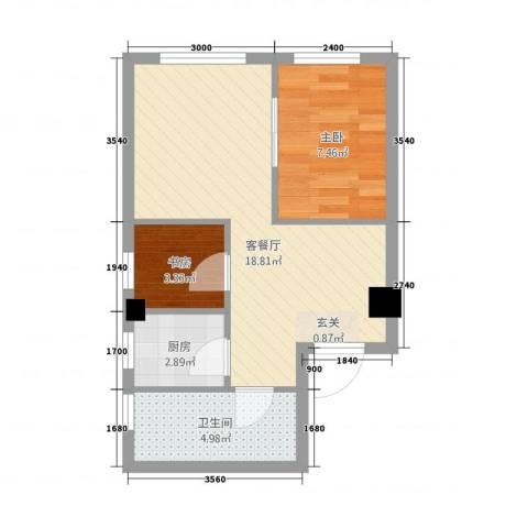 南山学府2室1厅1卫1厨57.00㎡户型图