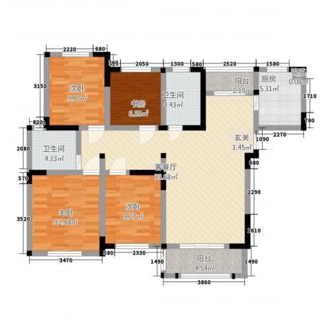 聚怡花园幸福小城4室1厅2卫1厨135.00㎡户型图