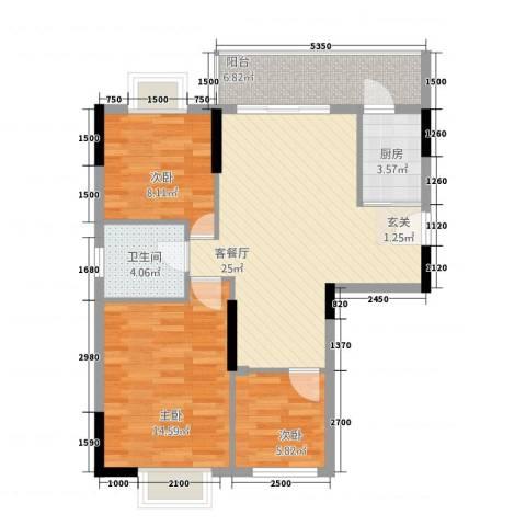 智富华轩3室1厅1卫1厨90.00㎡户型图