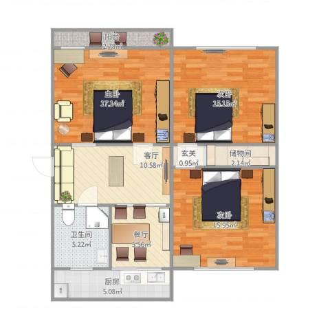 荷香村3室2厅1卫1厨109.00㎡户型图