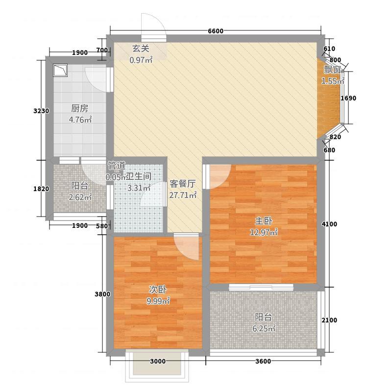 惠盛花园二期84.58㎡C-3户型2室2厅1卫1厨