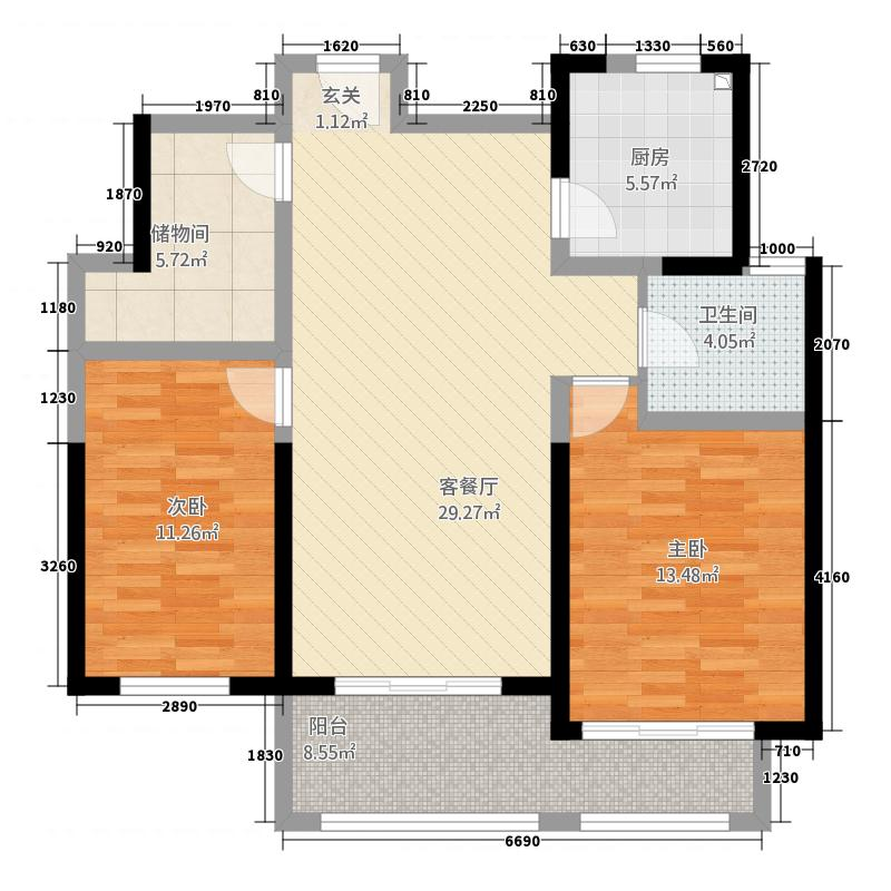 兴业・银河华府112.00㎡A4-B112户型2室2厅1卫1厨
