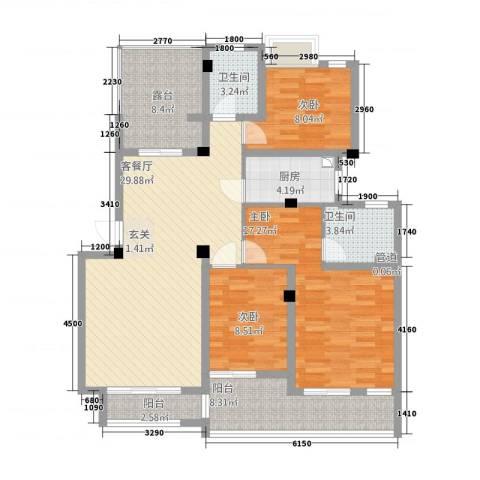 百大春城3室1厅2卫1厨137.00㎡户型图