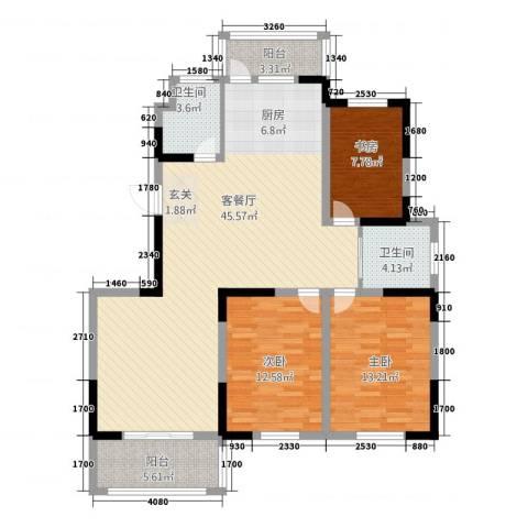 翔宇文苑3室1厅2卫0厨137.00㎡户型图