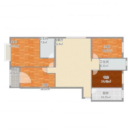 柏悦公馆4室1厅2卫1厨221.00㎡户型图