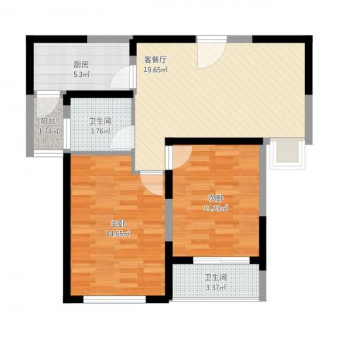 和泰家园2室1厅2卫1厨86.00㎡户型图