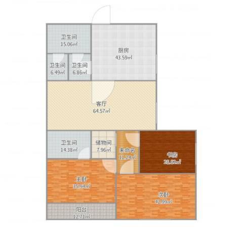 月光广场3室1厅4卫1厨304.37㎡户型图