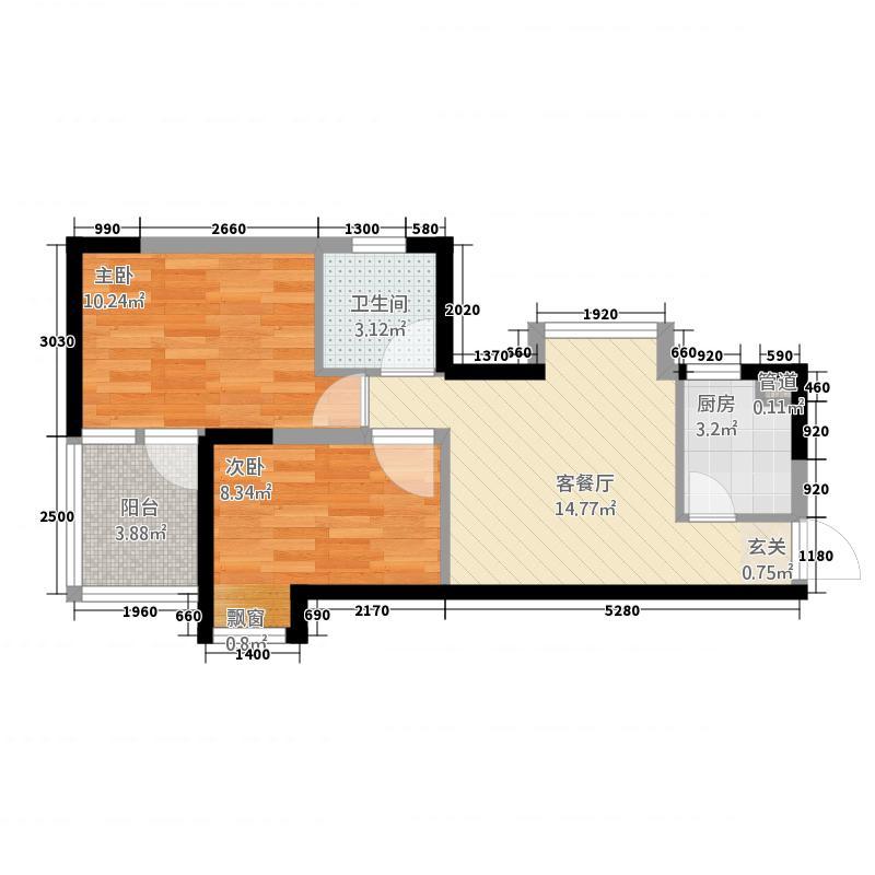 华夏润府两居室37户型2室1厅1卫1厨