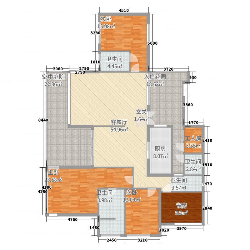 观山湖1号218.52㎡二期别院洋房13、14栋E-2户型5室2厅4卫1厨