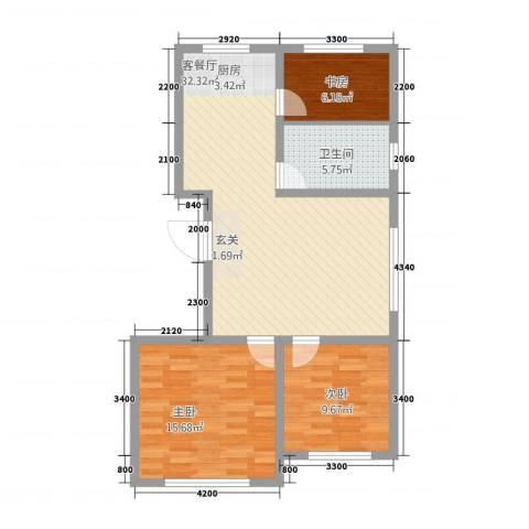 蒙东绒毛商贸城3室1厅1卫0厨69.60㎡户型图