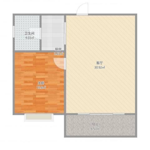 逸港花园1室1厅1卫1厨79.00㎡户型图